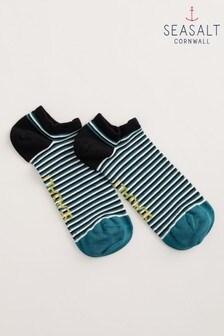 Seasalt Cornwall Teal Ladder Gouache Men's Sailor Trainer Socks