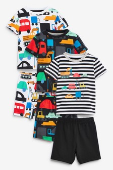 3 Pack Transport Print Short Pyjamas (9mths-8yrs)