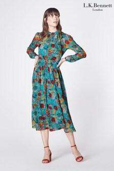L.K.Bennett Blue Gish Silk Dress