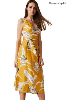 Phase Eight Yellow Shaniya Printed Linen Dress