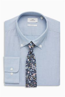 Oxford Slim Fit Button Down Shirt With Tie Set