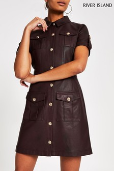 River Island Oxblood Sabini PU Shirt Dress