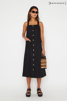 Warehouse Black Linen Blend Pinafore Midi Dress