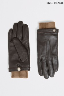 River Island Brown Leather Gloves
