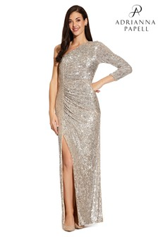 Adrianna Papell Grey Sequin Draped Gown