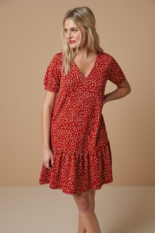 Spot Tiered Dress