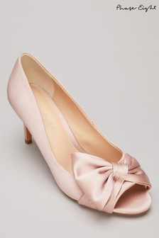 Phase Eight Pink Meaghan Satin Bow Peep Toe Shoes