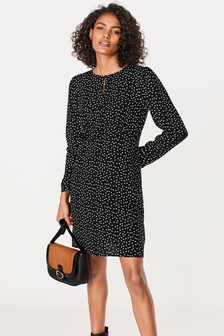 Keyhole Volume Sleeve Mini Dress