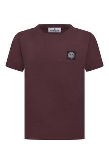 Boys Burgundy Cotton T-Shirt