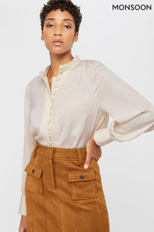 Monsoon Ladies Cream Perri Pleat Button Blouse