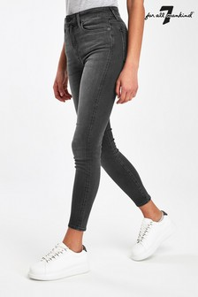 7 For All Mankind Black Wash Aubrey High Waist Skinny Jeans