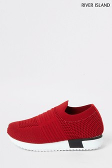 River Island Mini Red Knitted Runner Trainers