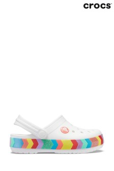 Crocs White Chevron Clogs