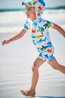 Printed Sunsafe Swimsuit And Sun Hat Set (3mths-7yrs)
