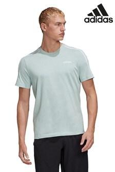 adidas Essential Green 3 Stripe T-Shirt