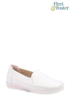 Fleet & Foster White Shirley Slip-On Shoes