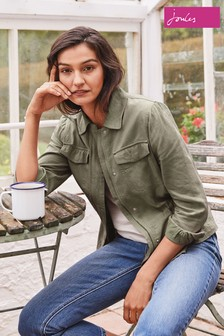 Joules Green Alexandra Casual Jacket With Elasticated Waist