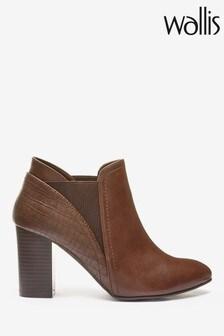 Wallis Brown Alexa Pull-On Point Croc Chelsea Boots