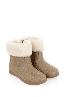 Girls Chestnut Glitter Leopard Jorie II Boots