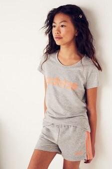 adidas Grey Linear Logo Shorts