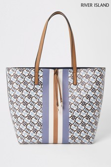 River Island Light Blue Monogram Summer Tote