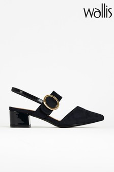 Wallis Catherine Navy Feature Buckle Slingback Shoes