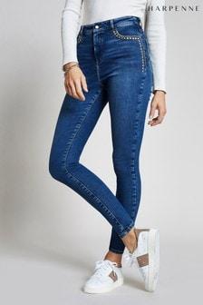 Harpenne Blue Stud Embellished Skinny Jeans