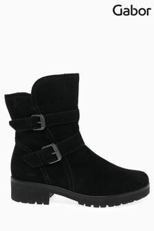 Gabor Black Shiraz Foot Fit Nubuck Mid Leg Boots