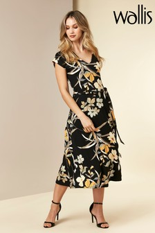 Wallis Black Floral Jersey Midi Dress