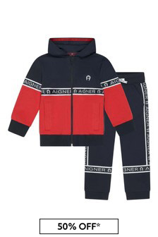 Boys Navy/Red Cotton Tracksuit