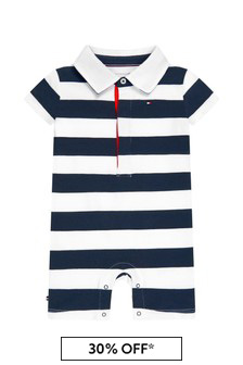 Tommy Hilfiger Baby Navy Cotton Shortie Rompsersuit