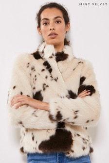 Mint Velvet Animal Cow Print Faux Fur Chubby Coat