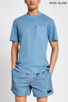 River Island Blue Nylon Panel T-Shirt