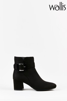 Wallis Admiration Black Buckle And Tie Detail Boots
