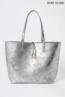 River Island Silver Metallic Summer Shopper