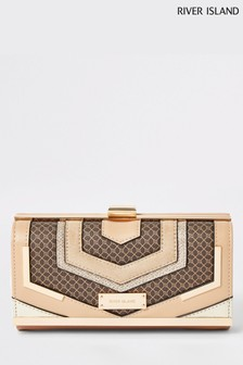 River Island Brown Choc Monogram Cut About Purse