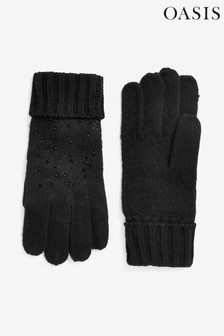 Oasis Black Hotfix Knitted Gloves