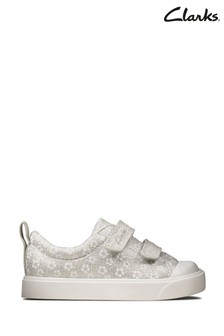 Clarks Silver City Bright T Canvas Velcro Shoes