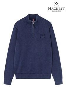 Hackett Blue HKT Washed Half Zip Sweater