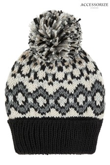 Accessorize Black Mono Fairisle Pattern Pom Beanie
