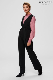 Selected Femme Black Thea Wide Leg Jumpsuit
