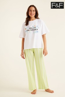 F&F Lime Hello Saturday Pyjamas
