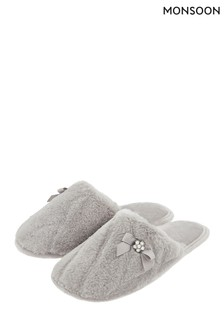Monsoon Grey Emily Embossed Animal Mules
