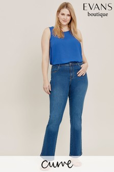 Evans Curve Blue Mid Wash Straight Leg Jeans