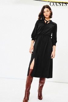 Oasis Black Plain Pussybow Midi Dress