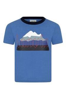 Lanvin Boys Blue Organic Cotton Jersey T-Shirt