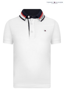 Tommy Hilfiger White Jacquard Collar Polo