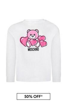 Moschino Kids Baby Girls White Cotton Sweater