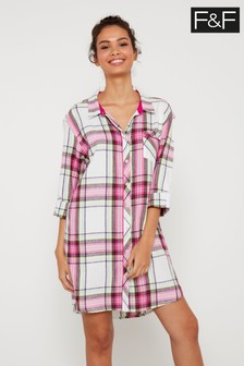 F&F Pink/Cream Check Nightshirt