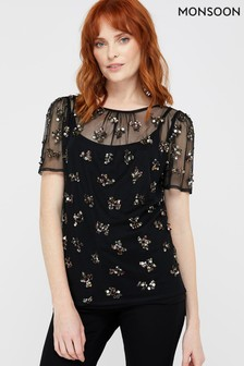 Monsoon Ladies Black Khadijah Embellished Short Sleeve Top
